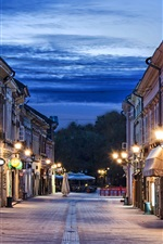 Preview iPhone wallpaper Novi Sad, Serbia, evening, street, lights, clouds