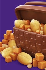 Preview iPhone wallpaper Nuts, chocolate, snacks, basket, 3D picture