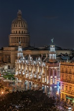 Preview iPhone wallpaper Old Havana, Cuba, night, city, lights, buildings