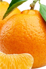 Preview iPhone wallpaper Orange, citrus, leaves, white background
