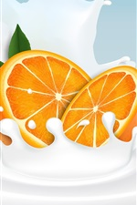 Preview iPhone wallpaper Orange slice, milk, splash