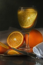 Preview iPhone wallpaper Oranges, glass cup, drinks, fruit, knife, cloth
