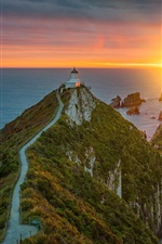 Preview iPhone wallpaper Otago, Pacific Ocean, sea, lighthouse, sunrise