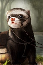 Preview iPhone wallpaper Otter, art drawing