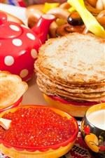 Pancakes, caviar, doughnut, delicious food
