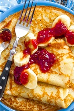 Preview iPhone wallpaper Pancakes, jam, banana, food