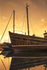 Preview iPhone wallpaper Pier, ships, river, fog, morning