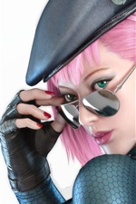 Preview iPhone wallpaper Pink hair girl, hat, glasses