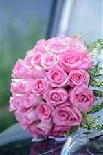 Preview iPhone wallpaper Pink roses, bouquet, car