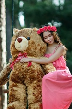 Preview iPhone wallpaper Pink skirt girl and teddy bear on swing