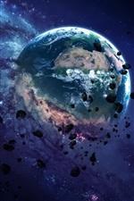 Planet, destruction, rocks, space