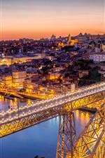 Preview iPhone wallpaper Portugal, bridge, night, city, river, lights