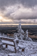 Preview iPhone wallpaper Posio, Finland, winter, snow, bench, trees, clouds