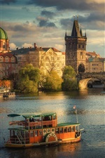 Preview iPhone wallpaper Prague, Charles Bridge, Czech Republic, city, river