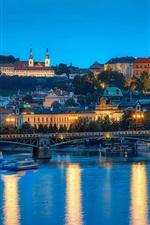 Preview iPhone wallpaper Prague, Czech Republic, bridge, river, city, lights, evening