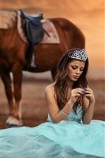 Preview iPhone wallpaper Princess, light blue skirt, horse, sun