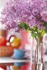 Purple lilac flowers, bouquet, vase, room