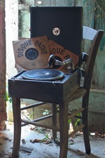 Record player, chair, music records, retro