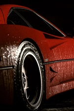 Preview iPhone wallpaper Red Ferrari sports car side view, water drops, night