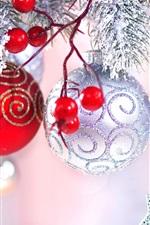 Bagas vermelhas, bolas de natal, decoração, faíscas