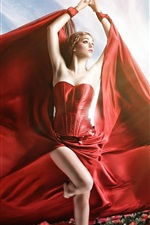 Red dress girl, pose, flowers, art photography