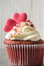 Preview iPhone wallpaper Red rose, cupcake