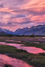 Preview iPhone wallpaper River, clouds, mountains, grass, dusk