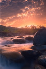 Preview iPhone wallpaper River, stones, sunrise, morning