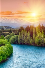 Preview iPhone wallpaper River, trees, sunset, sun rays