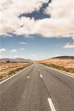 Preview iPhone wallpaper Road, clouds, sky, desert