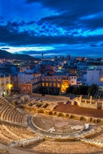 Preview iPhone wallpaper Roman theatre, Spain, night, lights, ruins