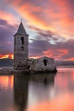 Preview iPhone wallpaper Ruins, lake, sunset