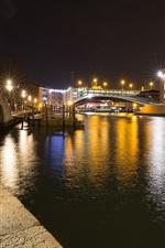 Preview iPhone wallpaper Santa Croce, Venice, Italy, night, river, bridge, lights