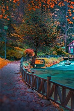 Preview iPhone wallpaper Sarajevo, Bosnia, path, river, fence, house, trees, park, autumn