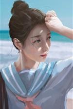 Preview iPhone wallpaper Schoolgirl, sea, beach, watercolor painting