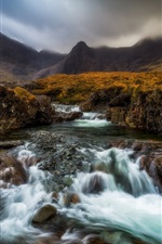 Preview iPhone wallpaper Scotland, Highland, river, creek, mountains, grass, fog