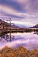Preview iPhone wallpaper Scotland, mountains, river, grass, nature landscape