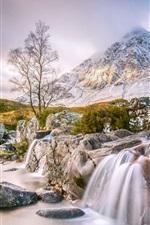 Scotland, stream, mountain, waterfall, trees