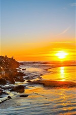 Preview iPhone wallpaper Sea, coast, rocks, people, dawn, sunrise