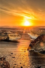 Sea, shore, ice, sunset, sun rays