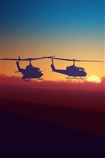 Preview iPhone wallpaper Silhouette, helicopter, clouds, sunset