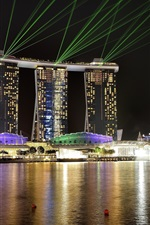 Preview iPhone wallpaper Singapore, sea, city, night, lights