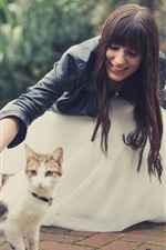 Preview iPhone wallpaper Smile girl and cat, blurry
