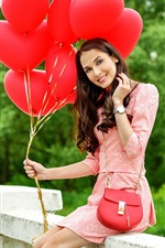 Preview iPhone wallpaper Smile girl and red balloons
