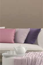 Preview iPhone wallpaper Sofa, pillow, flowers, curtains, bright style