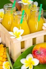 Preview iPhone wallpaper Some plumeria flowers, juice, mango, bottles