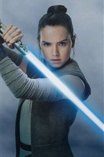 Preview iPhone wallpaper Star Wars: The Last Jedi, Daisy Ridley, laser sword