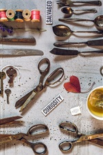 Preview iPhone wallpaper Still life, knife, fork, key, spoon, scissors, tea