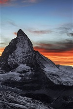 Switzerland, Gornergrat, peak, clouds, dusk