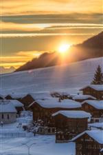 Switzerland, winter, snow, slope, trees, houses, sunrise, morning